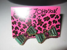 Betsey Johnson Iconic Blue Bow And Bling Earrings