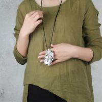 Fashion Jewelry Large Leaf Design Pendant Necklace Long Chain Women Charm