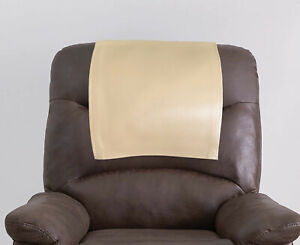 Genuine Leather Recliner Headrest Cover, Furniture Protector Slipcover Beige