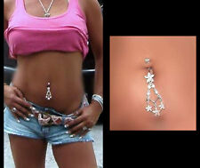 Sterling Silver .925 Gorgeous Flower Shooting Star Navel Belly Bar Ring USA