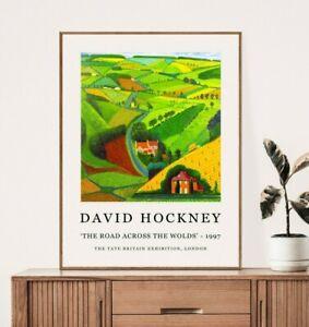 David Hockney Poster, David Hockney Print, Road Across The Wolds, Floral