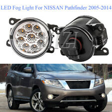 Pair LED Front Fog Lamps Driving Light For NISSAN Pathfinder R51 2005-2014 Clear