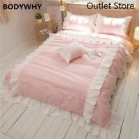 Cotton Sweet Princess Bedding Chic Ruffles 4Pcs  Down Duvet Cover Bed Sheet