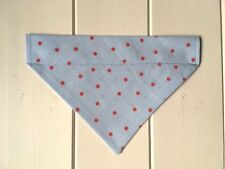 Handmade Cath Kidston Rosali Blue/Red Spot Over Collar Dog Bandana - x-small