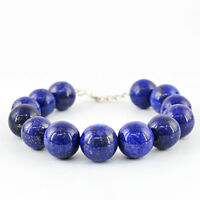 RARE AAA 538.50 CTS NATURAL ROUND SHAPED RICH BLUE LAPIS LAZULI BEADS BRACELET