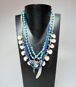 4 Vintage Artisan Necklaces Santa Fe Style Turquoise Shells Azurite Silver