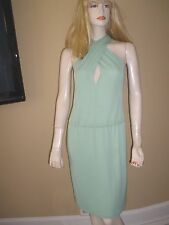 $850 SEXY ALBERTA FERRETTI GREEN HALTER STRETCH JERSEY DRESS 42/6