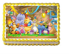 Winnie the Pooh Birthday Party Icing Edible Cake Topper 1/4 frosting sheet