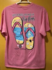 Simply Southern Women's T Shirt Size 2XL Color Pink Short Sleeves  FLIP FLOPS