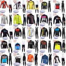 2019 Men cycling Jersey set winter thermal fleece long sleeve Top bib pants Suit