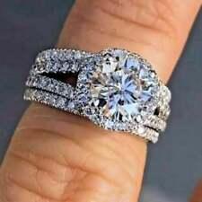 Bridal Ring Set 14K White Gold Over 7mm Solitaire Halo Moissanite Wedding 2 Band