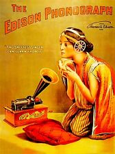 ART PRINT MUSIC ADVERT EDISON PHONOGRAPH SONGBIRD GIRL HORN PILLOW USA NOFL0723