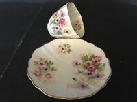 BONE CHINA CUP & SAUCER BY VICTORIA ENGLAND MULTICOLOR FLOWERS FLORAL
