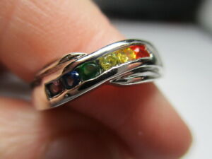 STERLING SILVER 925 ROSS SIMONS RAINBOW CUBIC ZIRCONIA PETITE RING SIZE 5