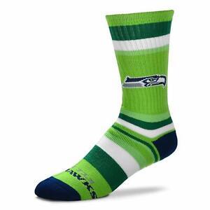 Seattle Seahawks Football Green & Navy Rainbow Stripe Deuce Crew Socks