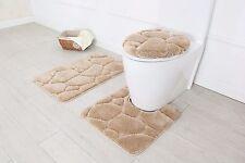 Hotel Collection 3 Piece Premium River rock Bath rug set 100% Polyester (Beige)