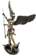 "ST SAINT MICHAEL THE ARCHANGEL PIERCING LUCIFER SATAN STATUE FIGURINE 15"" TALL"