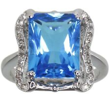 Blue Topaz Gemstone Baguette Sterling Silver Ring size N