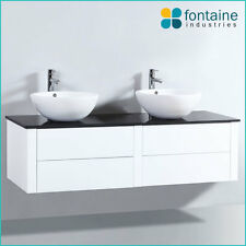 Bathroom Vanity 1500 White Wall Mounted Hung Ceramic Basin Stone Modern Push NEW