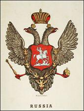 RUSSIA:Stemma Araldico-Pagnoni 1863.Originale Lithografia Colori.In Passepartout