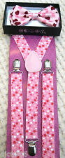 Pink Hearts Valentine Adjustable Bow Tie & Pink White Stars Suspenders Combo-New