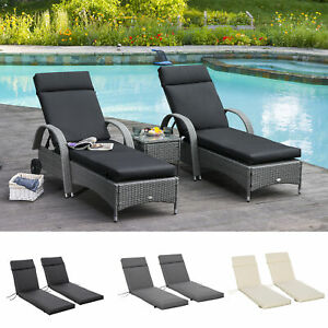 Set of 2 Sun Lounger Cushion Non-Slip Seat Pads for Indoor Outdoor