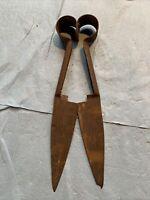 Antique Vintage Rusty Metal Shears Farm Tool Decor