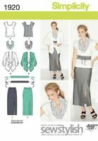 Simplicity Sewing Pattern 1920 Misses Plus Size Skirt Top Scarf Size 20W-28W