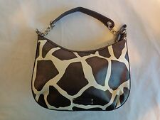 NINE AND CO Handbag Shoulder Bag Purse GIRAFFE Print Faux Leather Brown White