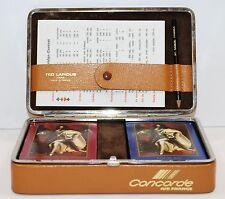 VINTAGE AIR FRANCE CONCORD Aviation Ted Lapidus Louis XlV Playing Cards Case NEW