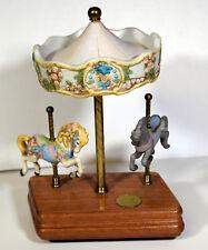 "10"" Vintage Legends of the Rose Carousel Porcelain Horses Music Box Willitts"