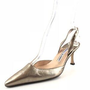 Manolo Blahnik Platinum Leather Pointy Toe SlIngback Pumps Womens Size 36 M *