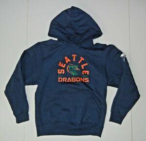 SEATTLE DRAGONS Blue/Orange XFL FOOTBALL HOODIE Fan Sweatshirt Kid Sz YOUTH L