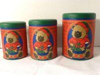 Vintage Set Of 3 Bear Motif Kaufmann's Dept. Store Holiday Tins, Unused, w /Tag