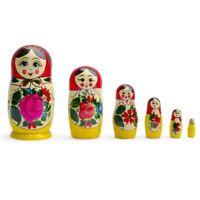"Russian Wooden Nesting Dolls Matryoshka 6 Pieces 5.5"" (H) Large! Wood! Original!"