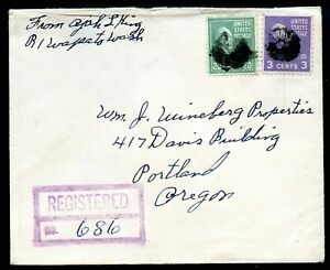 U.S. Scott 825 and 807 Prexies on Registered Wapato, Washington Cover