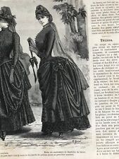 MODE ILLUSTREE SEWING PATTERN Sept 6,1885- MOURNING DRESSES, EVENING BLOUSE