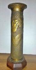 """World War Trench Art Shell Dragon Wood Base 12"""""""