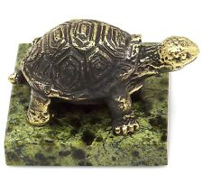 Turtle Real Bronze Figurine Animal Sculpture on Green Russian Serpentine Base