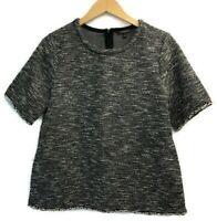 Banana Republic Short Sleeve Sweater Black White Fringe Women's Size Medium