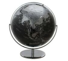 "17"" Large 2 Tone Revolving World Globe Table Top Black & Silver Modern Style"