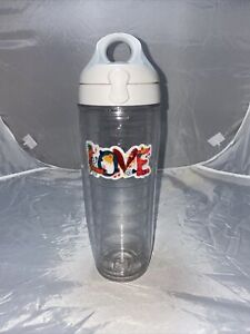 "Tervis Bottle 24 oz Travel ""Love Bug Patch "" Flip-Top Lid Patch White/Clear"