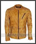 Mens Designer Yellow Waxed Biker Fashion Summer Style Genuine Leather Jacket