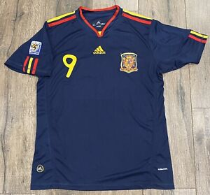 2010 Spain World Cup Fernando Torres #9 Adidas XL Blue Soccer Jersey