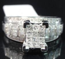 Ladies White Gold Princess Cut Real Diamond Engagement Wedding Bridal Ring 1 Ctw