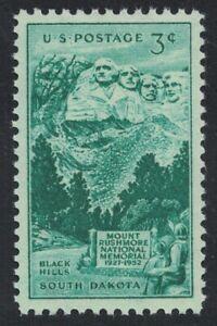 Scott 1011- Mount Rushmore, Black Hills SD- MNH 3c 1952- unused mint stamp
