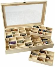 *NEW* Wooden 56 Division Compartment Collectors Display Shadow Box - Acrylic Lid