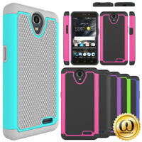 For ZTE Avid Trio Z833 HARD Plastic Skin Hybrid Rubber Silicone Case Phone Cover