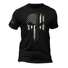 USA Tactical Army Thin Green Line Flag Punisher Skull - Flag on Sleeve T-Shirt
