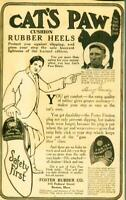 "Advertising Cat's Paw Cushion Shoe Rubber Heels Henry ""Hank""Gowdy Baseball 1915"